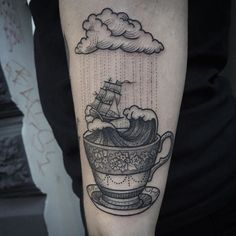 stormy weather sea tattoo by Susanne Konig Storm in a tea cup by patrice