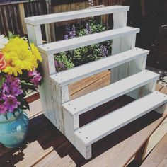 Had a special request for a distressed white cupcake stand. I love it so much, I'm adding at as a permanent option! Outdoor Plants, Outdoor Gardens, Plant Shelves Outdoor, Outdoor Plant Stands, Garden Shelves, Diy Plant Stand, Back Gardens, Plant Holders, Kraut