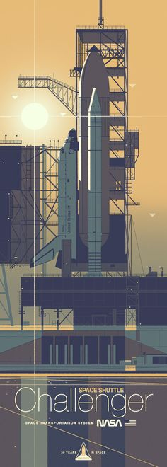 "NASA - Space Shuttle, ""Chalenger""  ~  Graphic Illustration by Kevin Dart (b.1981, USA)."