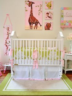 Pink and Green Girls Nursery with Jungle Animals Artwork