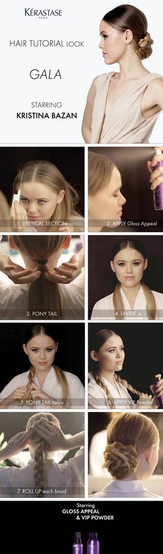 """""""Gala look"""" hair tutorial by Kristina Bazan (Kayture) for Kérastase Couture Styling. How to starring Gloss appeal and V.I.P. Volume In Powder."""
