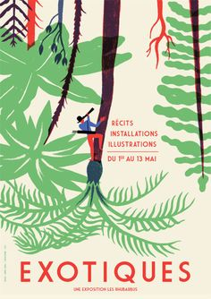 Great poster by Strasbourg-based illustrator Vincent Godeau. Love the world turned upside down and the exotic jungle setting. Poster Design, Graphic Design Posters, Art Design, Graphic Design Inspiration, Typography Design, Illustration Design Graphique, Art Graphique, Graphic Illustration, Book Cover Design