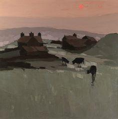 Llanrhydrs,  Kyffin Williams. Welsh (1918 - 2006)  - Oil on Canvas -