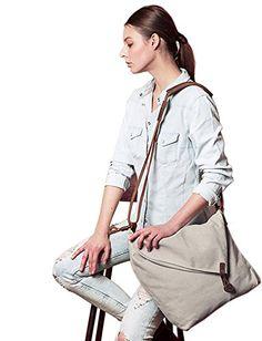a4d9e2bcbb Tom Clovers Summer New Women s Men s Classy Look cool Simple style Casual  Canvas Crossbody Messenger Shouder Handbag Tote Weekender Fashion Bag Beige  ...