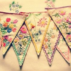Old embroidery bunting by sososimps