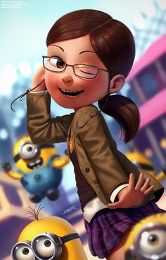 """This is a commission piece for She's Margo from """"Despicable Me"""" movie, and of course, the Minions are right there too Hope you like it, don't forget to . Margo and Minions Anime Art Fantasy, Art Anime, Female Cartoon Characters, Girls Characters, Cute Illustration, Character Illustration, Girl Cartoon, Cartoon Art, Minions Love"""