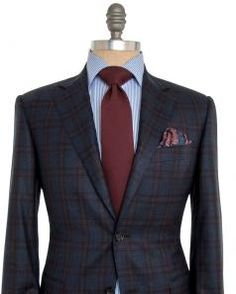 Image of Canali Blue and Red Plaid Sportcoat