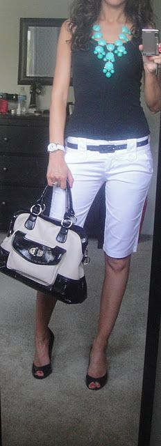 WHITE BERMUDAS + Black Top (new) + Gladiator Sandals + B&W Handbag + Turquoise Necklace