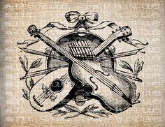 Antique Music Musician Violin Victorian Illustration Digital Download for Tea Towels, Papercrafts, Transfer, Pillows, etc Burlap No 6229. $1.00, via Etsy.