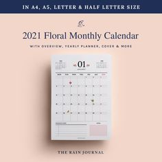 2021 Monthly Calendar Printable, 2021 Calendar, Desk Calendar, Wall Calendar, School Calendar, Monthly Planner, 2021 Planner, 2021 Insert