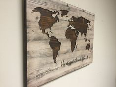 World map wall art, spiritual, Vintage Carved Wood Map, His Witness to the end of Earth modern rustic home decor, large custom, personalized by HowdyOwl on Etsy