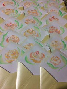Manually painted wedding invitations