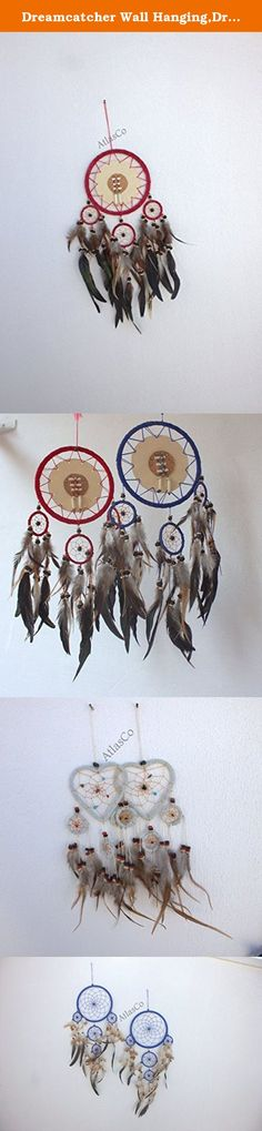 """Dreamcatcher Wall Hanging,Dreamcatcher Home Deco,Dreamcatcher. I have made these dreamcatchers Blue one first picture in about 8.5"""" diameter. red one second picture about 6.5"""" Heart one third picture about 4"""" wall decoration red/navy and brown, wooden beads crochet dreamcatcher, large, long, wall hanging. Please choose requested from drop menu while ordering. If you have any questions feel free to contact us."""