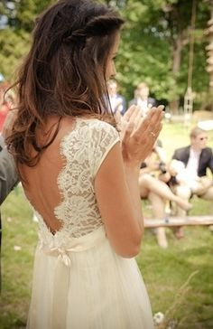 Love this lace back. Would switch out silk ribbon for beaded belt.