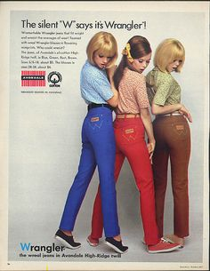 The silent W says it's Wrangler! Designed jeans ad 1967