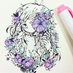 there are violets in your eyes and guns that blaze around you #inktober  #ididnthavepurplesoiusedpinkandbluehighlighters
