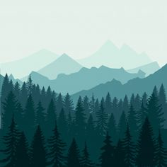 Pine forest and mountains Premium Vector Forest Drawing, Forest Painting, Forest Art, Pine Forest, Magical Forest, Mountain Illustration, Forest Illustration, Landscape Illustration, Forest Landscape