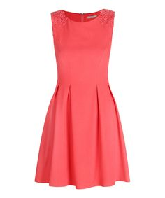 Look at this Coral Lace Appliqué Tasha Skater Dress on #zulily today!