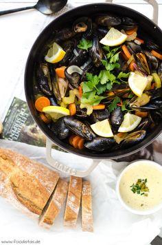 Moules avec Café de Paris Mayonnaise, Miesmuscheln Rezept, Muscheln kochen, Eintöpfe, Kochen mit Muscheln, selbstgemachte Mayonnaise