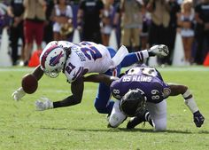 Bills-Ravens:   Monday, September 12, 2016  -   Buffalo Bills defensive back Nickell Robey drops an interception while covering Baltimore Ravens wide receiver Steve Smith in the fourth quarter.  -   James P. McCoy / Buffalo News News Sports Photographer James P. McCoy captured outstanding images from the Bills' season-opening loss in Baltimore. Here are our favorites