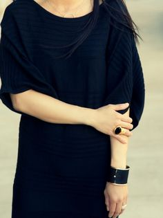 black sweater dress w/ minimal accessories. cozy & timeless all at once.