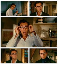 "Jude Law in glasses from ""the holiday."" yes please."