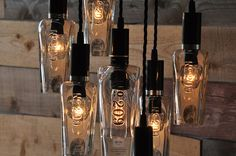 The 209 Recycled Bottle Light Chandelier by MoonshineLamp on Etsy