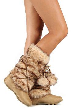 Tan fake Mukluks Super Furry Pom Pom Eskimo Mid-Calf Boot