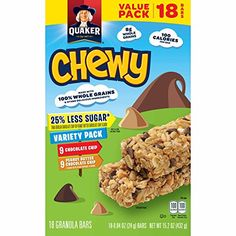 nice Quaker Chewy Granola Bars, 25% Less Sugar Variety Pack, 18 Bars, Net Wt. 15.2 oz