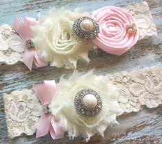 Pink Garter SET Wedding Garter Bridal Garter by PiccadillyCottage, $24.99