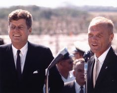 President John F. Kennedy and John Glenn address the crowd at Cape Canaveral (1962)