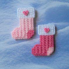 Plastic Canvas: Mini Christmas Stockings Magnets set of 2