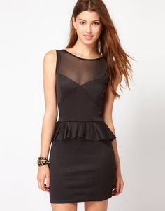Club L Peplum Dress With Mesh Detail from Asos - Was £ 49 now £28