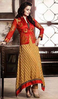 Ameesha Patel Beige and Red Brasso Churidar Kameez Price: Usa Dollar $98, British UK Pound £58, Euro73, Canada CA$106 , Indian Rs5292.