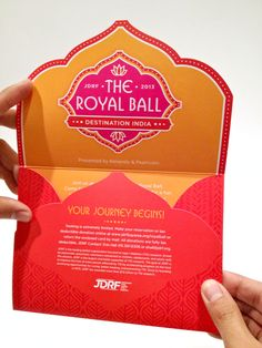 """JDRF Bay Area has been a long-standing client of our pro bono design studio, Joey's Corner. Over the years we have designed print materials for their auction and gala fundraising events such as this invitation to the upcoming """"Royal Ball"""". The graphic style and color scheme we developed speaks to this year's """"Destination India"""" theme!"""