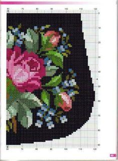 I'm thinking a bead bag chart. Cross Stitch Rose, Cross Stitch Flowers, Cross Stitch Charts, Cross Stitch Designs, Cross Stitch Patterns, Loom Beading, Beading Patterns, Embroidery Patterns, Beaded Embroidery