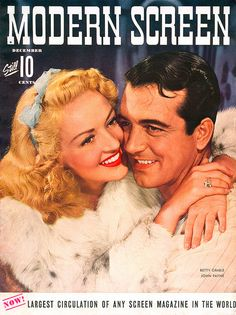 Betty Grable and John Payne on the cover of Modern Screen magazine, December 1942.