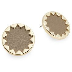 House of Harlow 1960 Immediates Leather Sunburst Button Earrings/Khaki (47 BRL) ❤ liked on Polyvore featuring jewelry and earrings