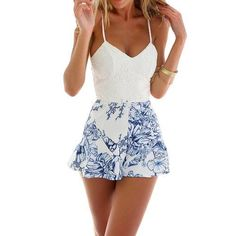 CHICUU - CHICUU Fresh Crochet Lace Floral Print Adjustable Strap Zipper Back White Rompers - AdoreWe.com
