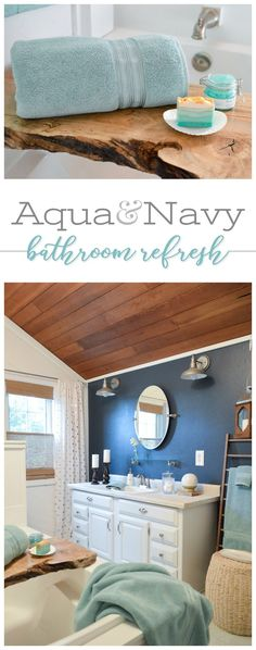 Create a Summer/Spa bathroom with the new Thick and Plush collection by Better Homes & Gardens at Walmart! The aqua towels add a sea inspired vibe, and with my navy walls, it feels very coastal-retreat now! Affordable accessories, and the fun, gold metallic polka dot curtains complete the look, for an inexpensive mini makeover anyone can do! #sponsored