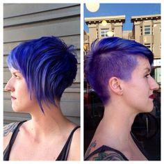 Asymmetric Electric Blue Color & Cut by Onika Simone #glamarama #bluehair #purplehair #blueandpurplehair #asymmetrichair #texturedhair #shavedside