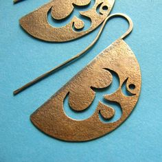 Sterling Silver And Bronze Metalsmith Aum Om Earrings  Mixed Metal Symbolic Jewelry