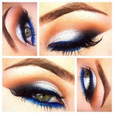Electric blue & white gel #maccosmetics #tntcosmetics #makeup #makeupartistdani #ilovemacgirls #lookoftheday #bluegel #lashes48 #falsies #eyes #glam