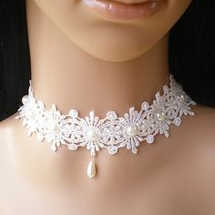 Cheap Fashion online retailer providing customers trendy and stylish clothing including different categories such as dresses, tops, swimwear. Lace Necklace, Lace Jewelry, Fabric Jewelry, Bridal Jewelry, Diy Jewelry, Jewelery, Handmade Jewelry, Jewelry Necklaces, Fashion Jewelry