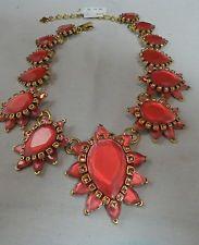 Oscar de la Renta Hot Pink Glass &  Crystal Flower Form Necklace NWT $890
