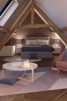 Découvrez comment aménager et décorer une chambre sous les combles. #astuce #déco #made #comble #chambre