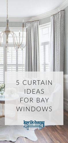 5 Curtain Ideas for Bay Windows Struggling to find ways to style your bay windows? Gain inspiration for your home with these curtain ideas for bay windows. Window Treatments Living Room Curtains, Bow Window Curtains, Bay Window Treatments, Dining Room Curtains, Dining Room Windows, Window Coverings, Burlap Curtains, Ideas For Window Treatments, Curtains For Bay Windows
