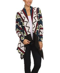 $16.99 This Blue & Green Diamond Open Cardigan is perfect! #zulilyfinds