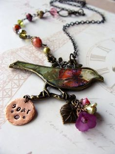A beautiful bird necklace from the bead soup blog party!