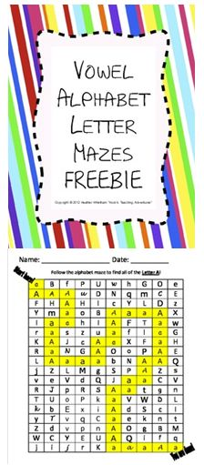Vowel Letter Recognition Mazes {FREE}